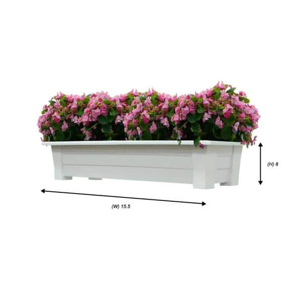 Adams Manufacturing 36 In X 15 In White Resin Deck Planter 9302 48 3700 The Home Depot