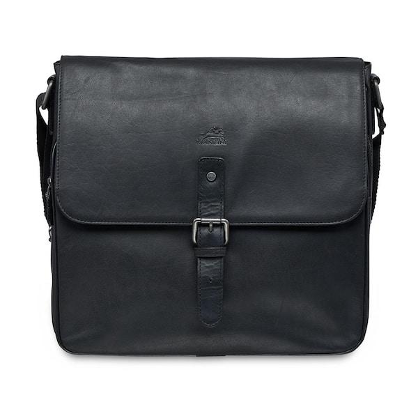 Black Unisex Leather Messenger Bag