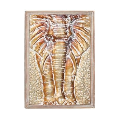 39 in. x 27 in. Gold Metal Eclectic Elephant Wall Decor