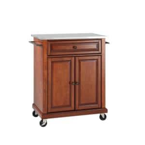 Rolling Cherry Kitchen Cart with Stainless Top