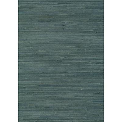 Jurou Blue Grasscloth Blue Wallpaper Sample