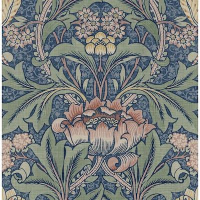 30.75 sq. ft. Denim Blue & Salmon Morris Flower Vinyl Peel and Stick Wallpaper Roll