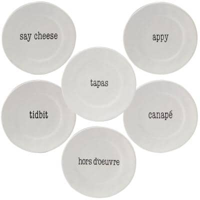 It's Just Words 6-Piece Traditional Multi-Colored Ceramic Plate Set (Service for 6)