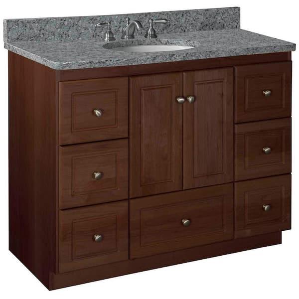 H Vanity Cabinet Only In Dark Alder, 42 Inch Bathroom Vanity Without Top