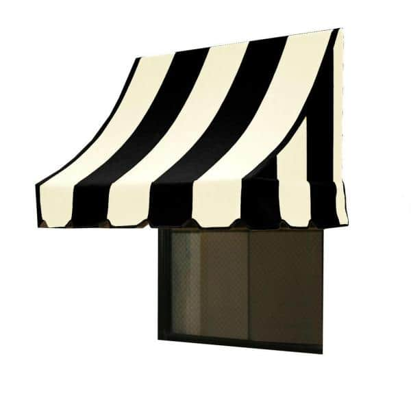 Awntech 5 38 Ft Wide Nantucket Window Entry Awning 56 In H X 48 In D In Black White Nn44 5kw The Home Depot