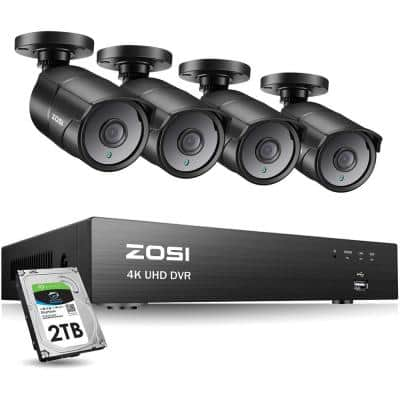 8-Channel 4K 2TB DVR CCTV Security Camera System with 4 PCS 8MP Wired Bullet Cameras