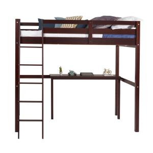 Tribeca Cappuccino Twin Size High Loft Bed with Desk