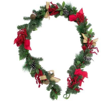 9 ft. Christmas Garland with Pinecones and Berries, Green