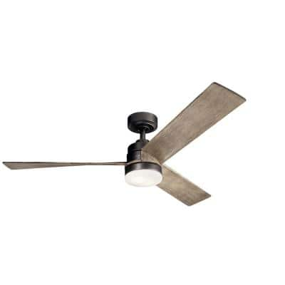 Spyn 52 in. Integrated LED Indoor Anvil Iron Downrod Mount Ceiling Fan with Light Kit and Wall Control
