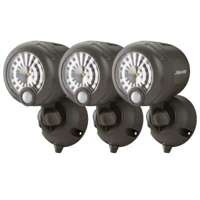 Brown 200 Lumen Battery Powered Motion Activated Outdoor Integrated LED Spotlight (3-Pack)
