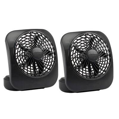 5 in. 2-Speed Battery Powered Desk Fan Black (2-Pack)
