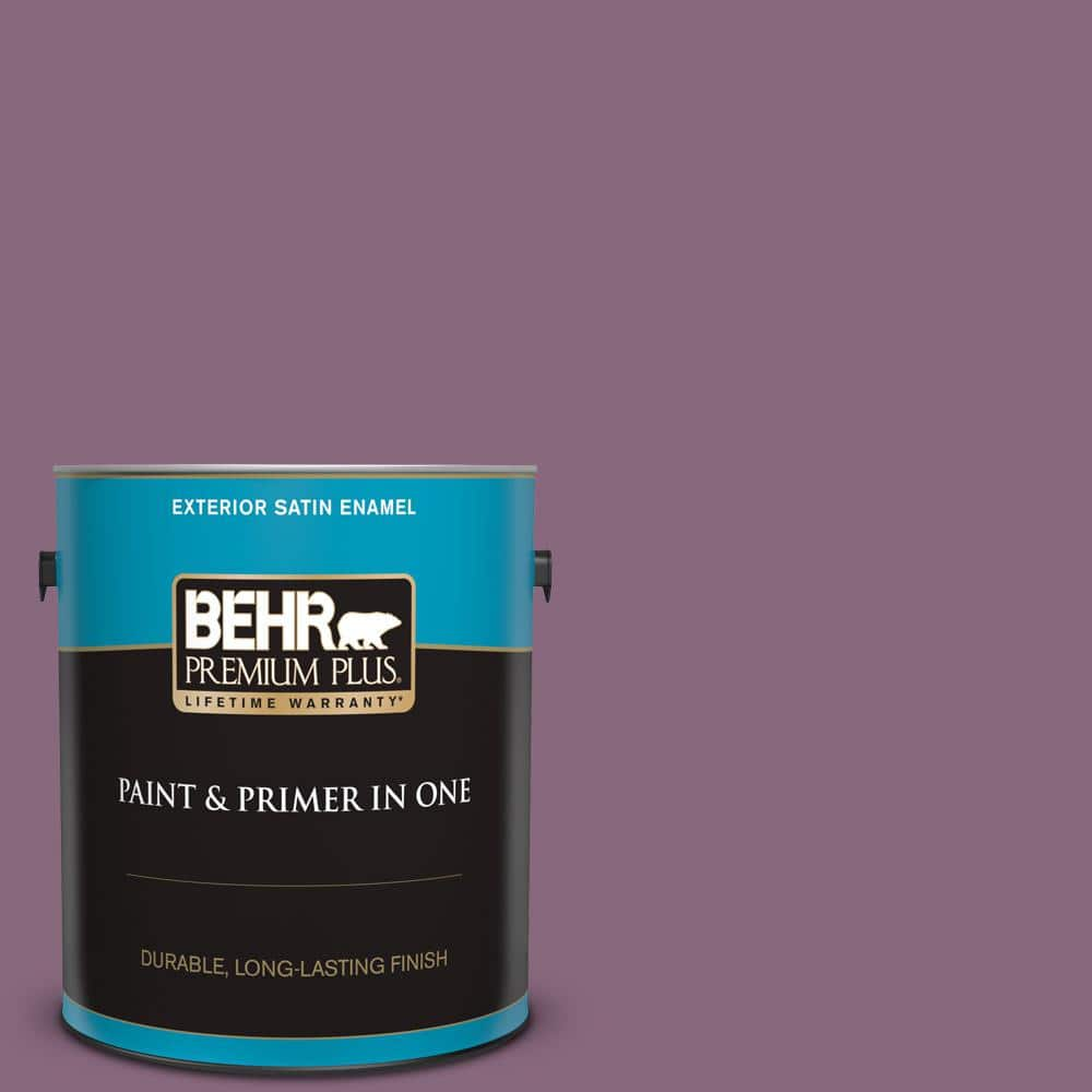 Behr Premium Plus 1 Gal S110 6 Plum Royale Satin Enamel Exterior Paint And Primer In One 940001 The Home Depot