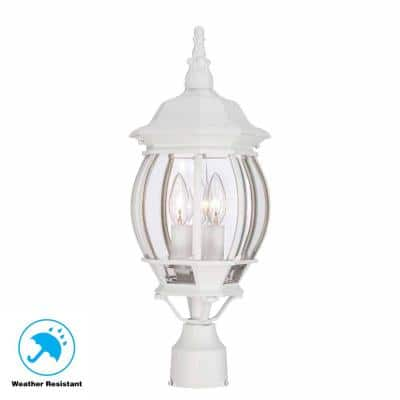 3-Light White Outdoor Post Light