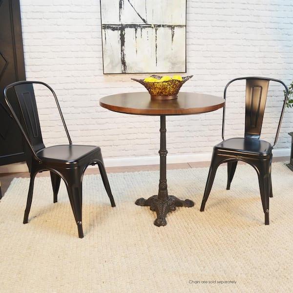 Velio Chestnut Black Bistro Dining Table Cf3030chetbk The Home Depot