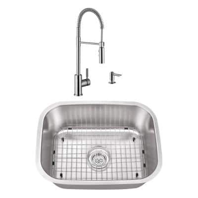 23-7/16 in. Stainless Steel Undermount Utility Sink Small Single Bowl with Brushed Nickel Faucet