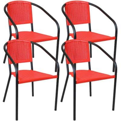 Aderes Black Frame Outdoor Plastic Arm Chair - Red Seat and Back (Set of 4)