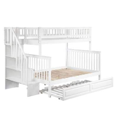 Woodland Staircase Bunk Bed Twin over Full with Twin Size Raised Panel Trundle Bed in White