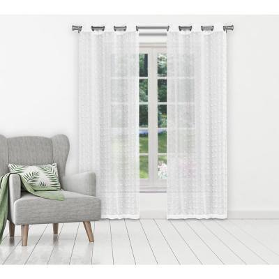 White Polka Dot Grommet Room Darkening Curtain - 38 in. W x 84 in. L (Set of 2)