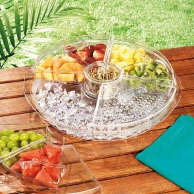 16 in. L Acrylic Divided Server with Ice Tray