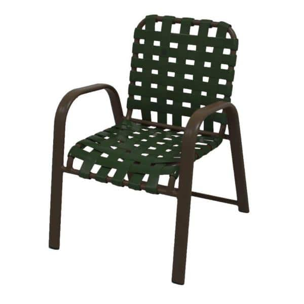 Marco Island Brownstone Commercial Grade Aluminum Patio Dining Chair With Green Vinyl Cross Straps 2 Pack 3200cs S G The Home Depot