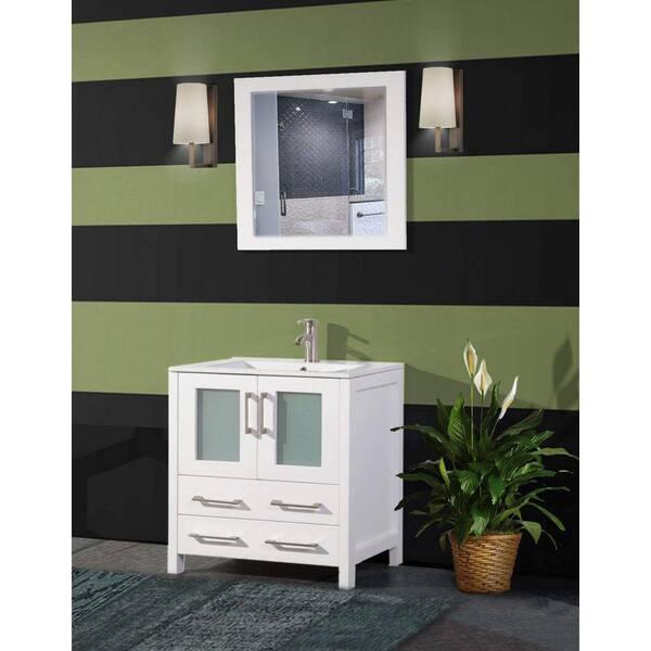 Vanity Art Brescia 30 In W X 18 In D X 36 In H Bath Vanity In White With Vanity Top In White With White Basin And Mirror Va3030w The Home Depot