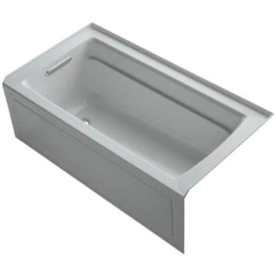 Archer 5 ft. Acrylic Left Hand Drain Farmhouse Rectangular Apron-Front Non-Whirlpool Bathtub in Ice Grey