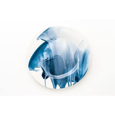 Splash Blue & White Dinner Plate, Set of 4
