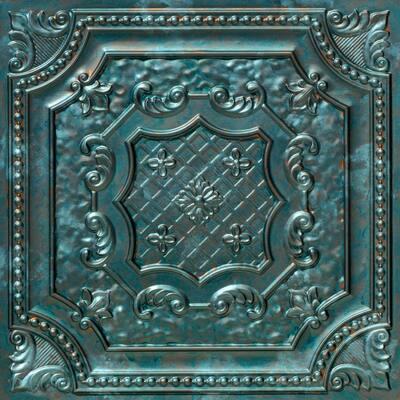 Elizabethan Shield 2 ft. x 2 ft. Glue Up PVC Ceiling Tile in Patina (100 sq. ft./case)