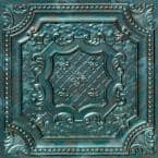 Elizabethan Shield 2 ft. x 2 ft. Glue Up PVC Ceiling Tile in Patina