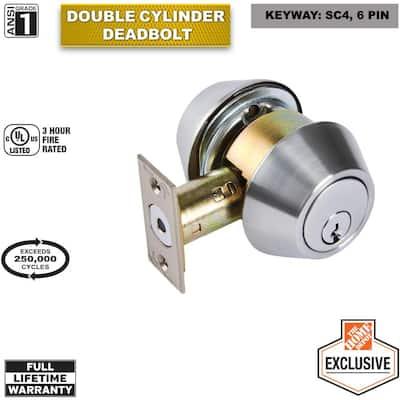 Commercial 2-3/4 in. Double Cylinder Satin Chrome Heavy-Duty Industrial Deadbolt