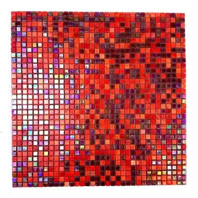 Galaxy Nebula Red and Purple Square Mosaic 0.3125 in. x 0.3125 in. Iridescent Glass Wall Pool Floor Tile (1 Sq. ft.)