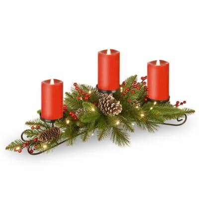 30 in. Feel Real Bristle Berry Centerpiece With 3 Electronic Candles, Battery Operated Lights, Berries and Cones