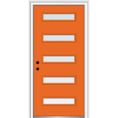 36 in. x 80 in. Davina Low-E Glass Right-Hand Inswing 5-Lite Clear Painted Steel Prehung Front Door