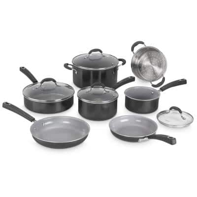 Advantage XT 11-Piece Aluminum Ceramic Nonstick Cookware Set in Black