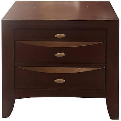 Amelia 3-Drawer 26 in. x 17 in. x 25 in. Espresso Rubber Wood Elegant Nightstand