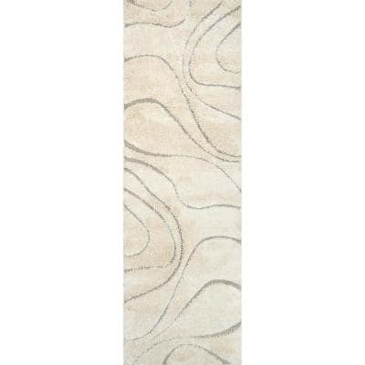 Carolyn Contemporary Curves Shag Cream 3 ft. x 10 ft. Runner