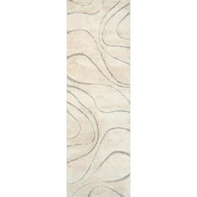 Carolyn Contemporary Curves Shag Cream 3 ft. x 8 ft. Runner