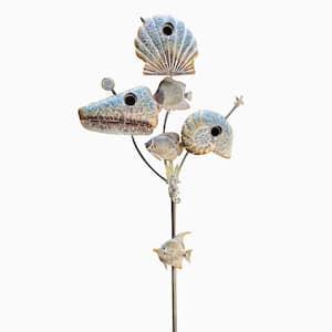 89.25 in. Tall Coastal Style Birdhouse Stake - Seashells