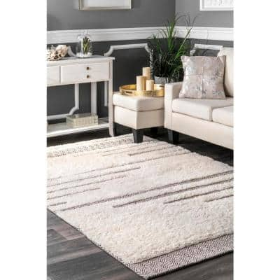 Berta Moroccan Abstract Shag Ivory 8 ft. x 10 ft. Area Rug
