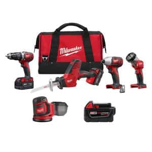 M18 18-Volt Lithium-Ion Cordless Combo Tool Kit (4-Tool) with 5.0Ah Battery and Orbit Sander