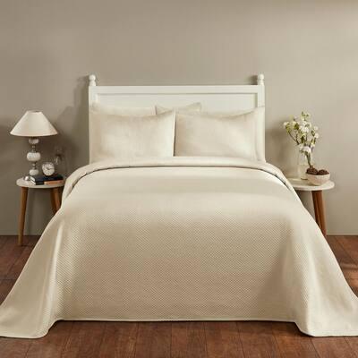 Sophia 3-Piece Ivory Full/Double Diamond Design Bedspread Set