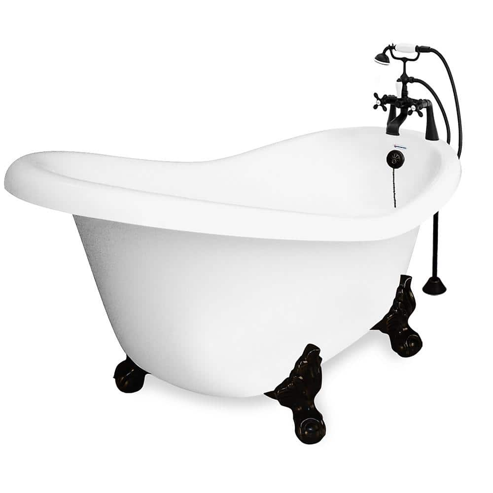American Bath Factory 71 In Acrylic Slipper Clawfoot Non Whirlpool Bathtub In White W Large Ball Claw Feet Faucet In Old World Bronze Ba Slc71 900a Ob The Home Depot