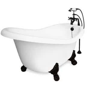 71 in. Acrylic Slipper Clawfoot Non-Whirlpool Bathtub in White w/ Large Ball, Claw Feet Faucet in Old World Bronze