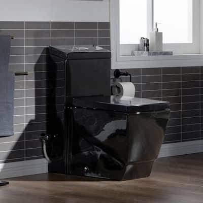 Modern 1-Piece 1.0/1.6 GPF Dual Flush Elongated Toilet in Black