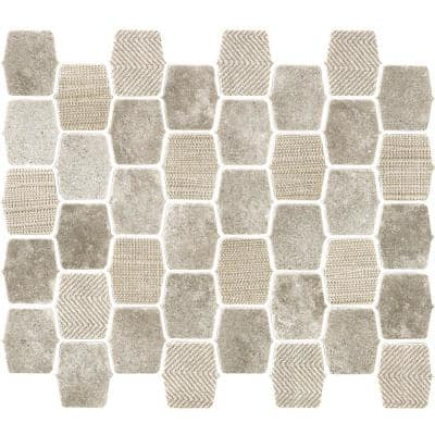 Organic Strands Light Grey 9.8 in. x 12.11 in. x 6mm Matte Glass Composite Lantern Mesh-Mounted Mosaic Tile