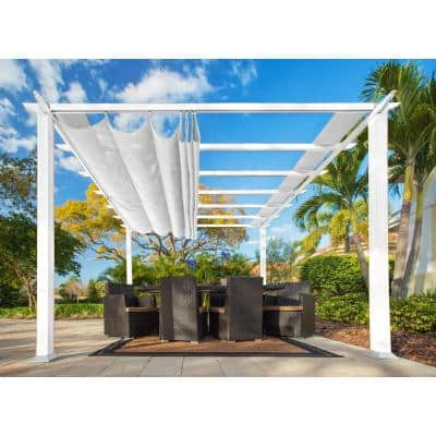 Paragon 11 ft. x 11 ft. White Aluminum Pergola with an Off-White Color Convertible Canopy Top