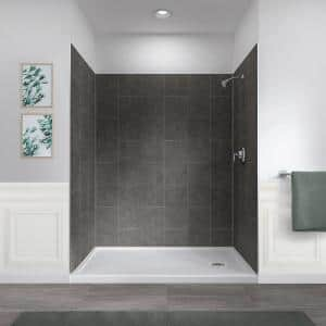 Jetcoat 32 in. x 60 in. x78 in. 5-Piece Easy-up Adhesive Alcove Shower Surround in Slate