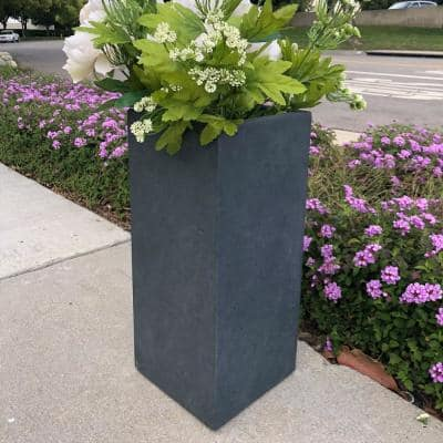 Large 13.8 in. x 13.8 in. x 27.8 in. Granite Lightweight Concrete Tall Planter