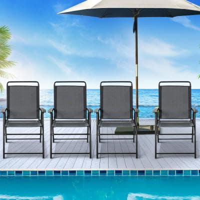 Grey Metal Folding Armrest Portable Lawn Chair (Set of 4)