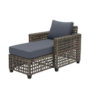 Briar Ridge Brown Wicker Outdoor Patio Chaise Lounge with CushionGuard Sky Blue Cushions